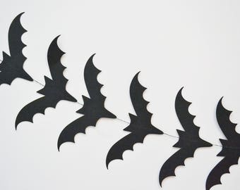 bat banner, bat garland, halloween party, halloween garland, paper banner, halloween decor, halloween decoration black banner bat decoration