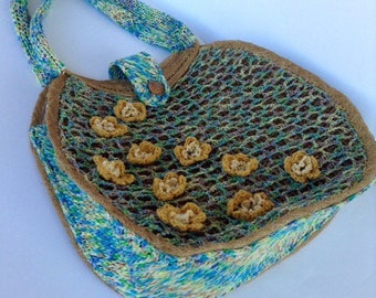 Straw bag, crochet, recycling bag decorated copyright, yellow flowers, ch