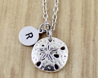 Silver Sand Dollar Necklace | Sand Dollar Charm Necklace with Initial | Sand Dollar Jewelry | Coram Creations 631 | RTETS98-1108SY | SOCOD32