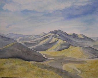 Sunny mountain watercolor