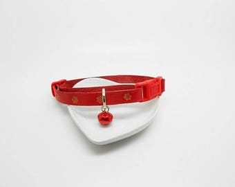 adjustable red leather cat collar flowers