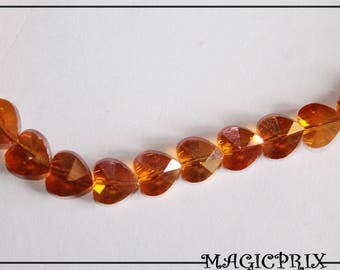 SET of 10 faceted Orange 10 x 10 mm m2552 heart glass beads