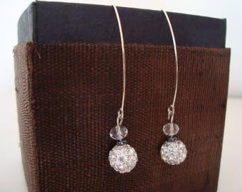 Earrings elliptical lightweight sambala multiple Rhinestones, hematite and glass beads