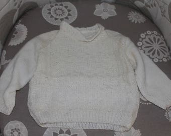 Pullover white child's hands