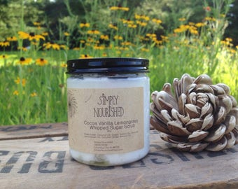 SimplyNourishedStore handmade with essential oil whipped sugar scrubs.