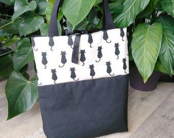 Bag style tote bag printed black cats