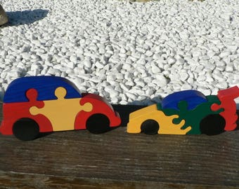 set of 2 puzzle wooden cars painted