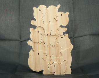 The Doggie pyramid wooden puzzle.