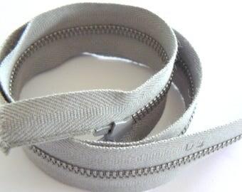 metallic zip fastener grey 50cm width 28mm 50-70s vintage