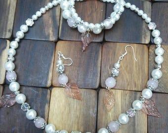 Pearl, Rose Quartz & Crystal Jewelry Set