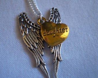 Angel Wings Mom or Daughter,Sister,Aunt,Uncle, Grandma,Grandpa,Son ,Dad Necklace Choose 1
