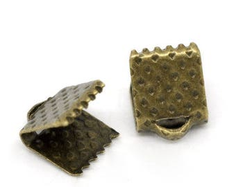 300 jewelry ties-6x8mm bronze Ribbon crimps