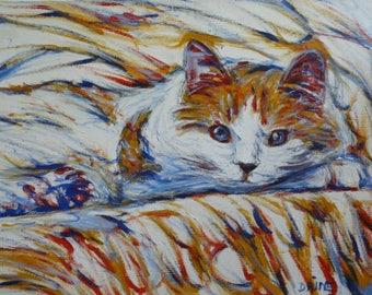Chat douceur - tableau peinture à l'huile félin - animaux tendresse - tête de chat portrait - cadeau décoration chat - regard chat moderne