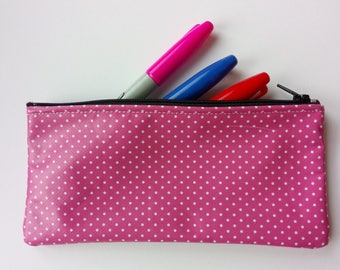 Pink polka dot pencil case
