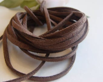 Set of two Brown faux velvet suede 3 * 2 mm cords