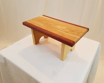 Birch Footstool with Blood Wood accents