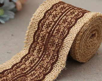 """2.5"""" Wide x 10 Yards Long Natural Burlap Craft Ribbon with Lace (Jute Ribbon, Burlap Tape, Rustic Decor) with Brown Lace"""