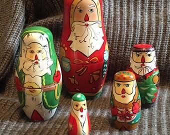 Christmas themed Russian nesting dolls