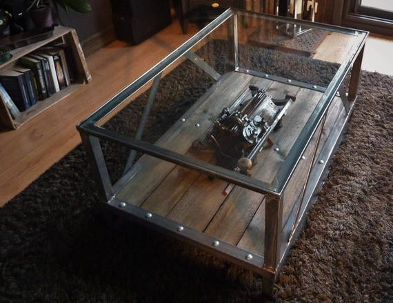 table basse metalboisverre esprit industriel