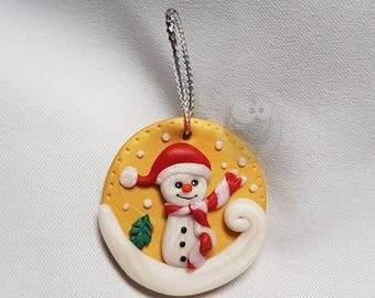 Kawaii Christmas Mr. snowman decoration with polymer clay