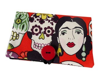 "Wallet Pocket cell phone ""Dia de los muertos"" mexican Frida skull fabric tissue case"