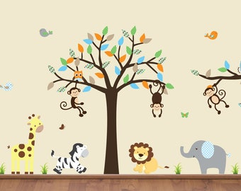 Jungle Decal Set, Nursery Tree Sticker, Animal Decals, Jungle Tree Decal, Jungle Tree Branch, Birds, Owls, Grass, Leaves