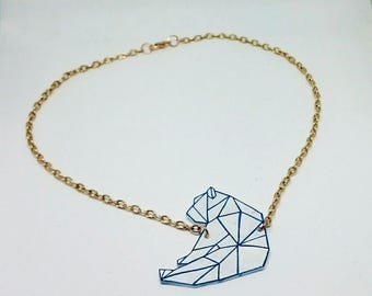 Rose gold polar bear origami necklace