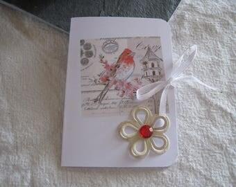 Greeting card, bird, Scriptures, zen, paper flower
