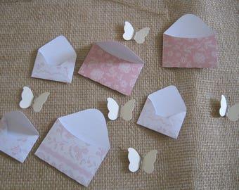 Set of 11 envelopes, butterfly embellishments