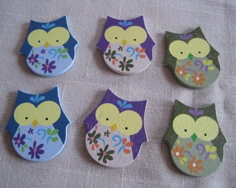 Set of 6 embellishments wooden owls, owls, tags, wood cutouts
