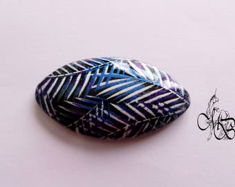 """""""Foliage"""" polymer clay oval domed cabochon"""