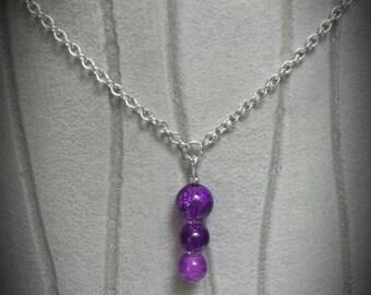 Purple Pearl silver necklace
