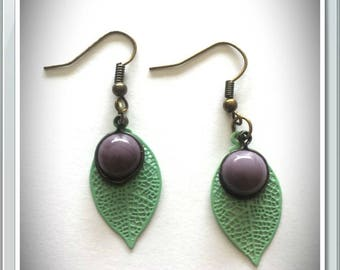 Earrings green leaves and purple beads
