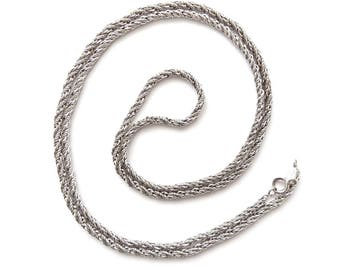 Vintage Grosse Germany 1973 Modernist Woven Silvertone Chain Necklace 80cm