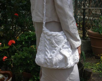 hand knitted white cotton tote bag