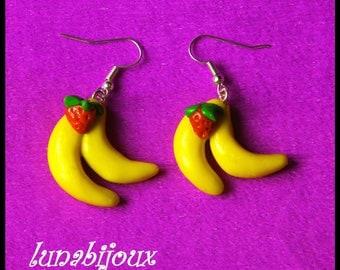 Fimo jewelry earring Banana Strawberry birthday gifts