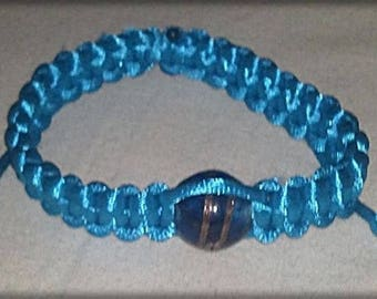 Bracelet shamballa turquoise cord with a Pearl
