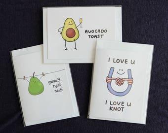 Set of 3 - Pun Cards