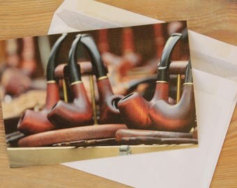 Tobacco pipe postcard,card,gift for him,print,postcard,guote card,postcrossing,retro postcard,paper