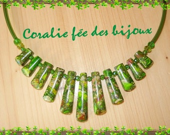 Necklace stones natural green tube Green PVC and Crystal beads
