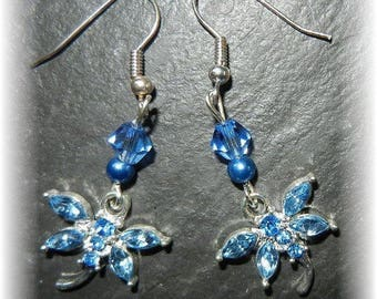 Dragonfly blue rhinestone earrings, glass beads and Crystal