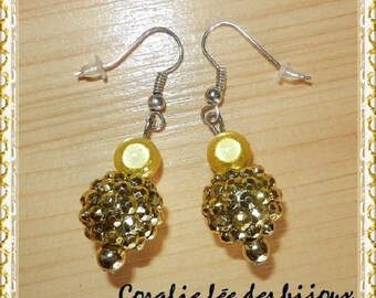 magical shamballa beads and metal Gold Silver 925 earrings