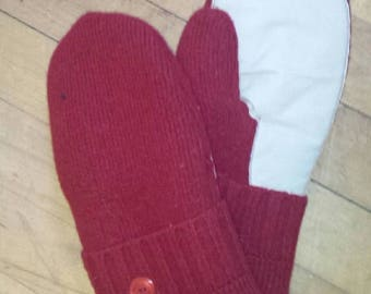 Adult Driving Mittens.  Hand made from recycled wool sweaters with a leather palm for grip and fleece lining.