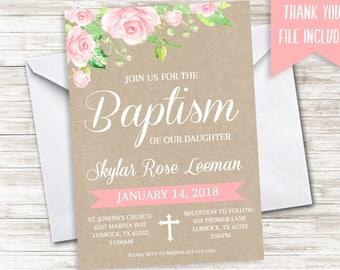 Floral Baptism Invite Invitation Digital 5x7 Watercolor Pink Girls Christening Baptized