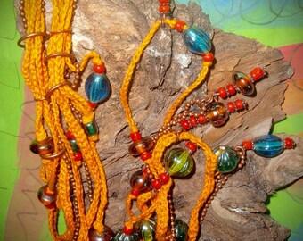 Heaven - cotton necklace copper beads