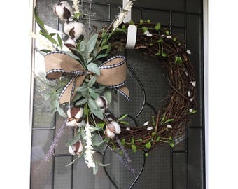 Cotton lavender wreath