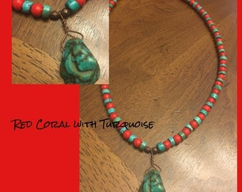 Red Coral with Turquoise