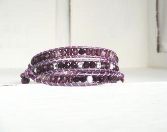 Bracelet type chan luu in shades of lilac Pink Silver/violet wrap bracelet
