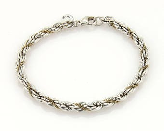 1992 Tiffany & Co. Sterling Silver 18K YGold 4.5mm Rope Chain Bracelet
