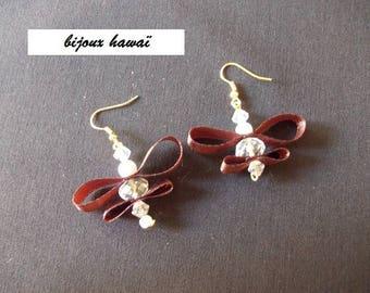 Brown satin and pearls earrings